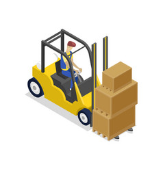 Warehouse forklift loading boxes isometric 3d icon vector