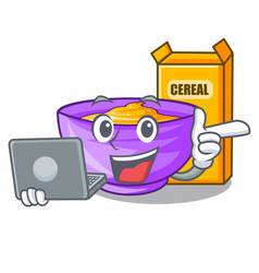 With laptop cereal box in a cartoon bowl vector
