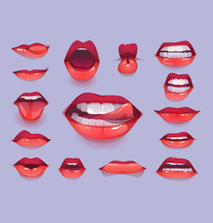 woman mouth set red sexy lips expressing emotions vector image