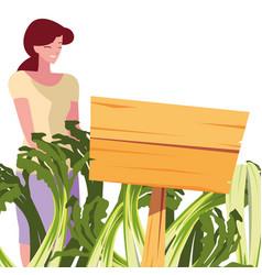 Woman shopping scallion farm wooden placard vector