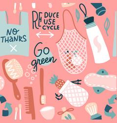 zero waste seamless pattern hand drawn eco life vector image
