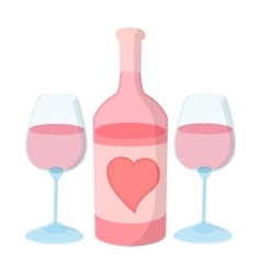 Bottle of wine with two wine glasses vector image vector image