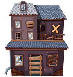 brick house with broken door and windows vector image vector image