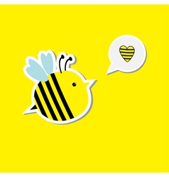 Cute cartoon bee and speech bubble with heart Card vector image vector image
