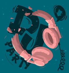 dj party design with broken headphone vector image vector image