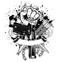 hand with knuckledusters pistols knifes vector image