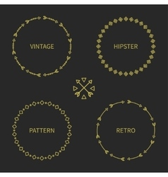 Set of gold hand drawn ethnic arrows frame vector image