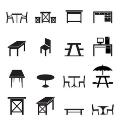 table icons set vector image vector image