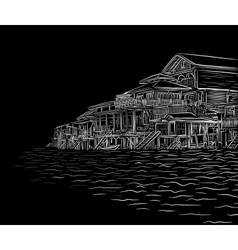 Waterside sketch vector image