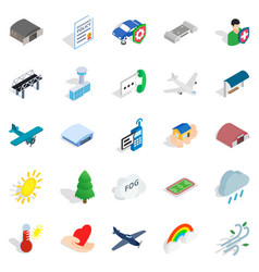 airborne icons set isometric style vector image vector image