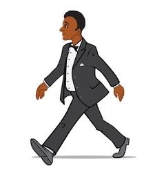 Black Man in a Tuxedo Walking vector image vector image