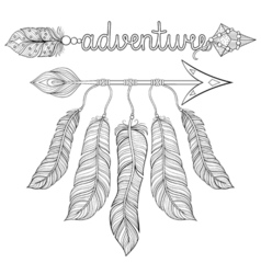 Boho chic ethnic dream Arrow with feathers vector image