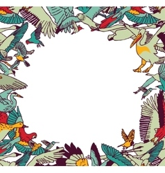 Fly birds frame border color isolate on white vector image vector image