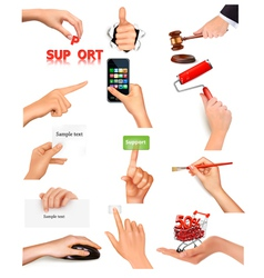 Hand holding items vector image vector image