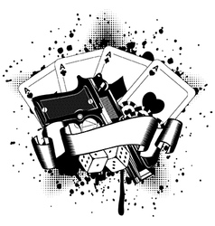 pistols and playing cards dice chips vector image
