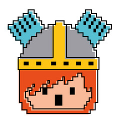 pixel character face knight with helmet game vector image