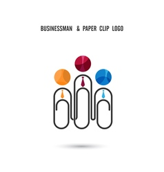 Businessman and paper clip logo design vector image