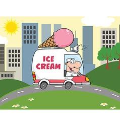 Cartoon ice cream truck vector image