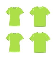 Green short sleeve t-shirts templates vector image