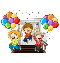 happy boys and colorful balloons at home vector image vector image