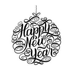 happy new year lettering greeting card design vector image
