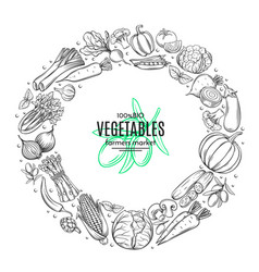 Poster template frame with hand drawn vegetables vector