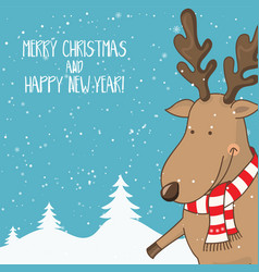 cartoon for holiday theme with deer on winter vector image vector image