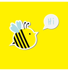 Cute cartoon bee and speech bubble with word Hi Ca vector image vector image