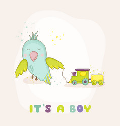 cute parrot with a train baby shower card vector image vector image