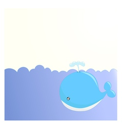 Cute whale background vector image