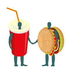 Fast food friends drink and hamburger beverage in vector
