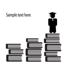 graduate and stairs of books vector image