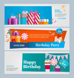horizontal banners set of birthday party vector image vector image
