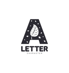 Letter A logo template with leaves vector image