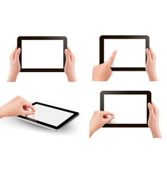 Set of tables with hands vector image vector image