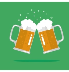 Toasting glasses of beer vector