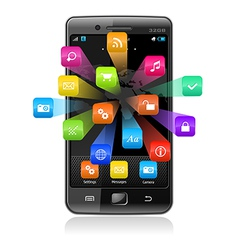 Touchscreen smartphone with application icons vector image vector image