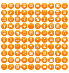 100 computer icons set orange vector