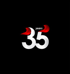 35 years anniversary celebration white and red vector