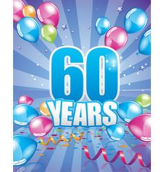 60 years birthday card vector