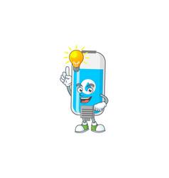 A genius wall hand sanitizer mascot have an idea vector