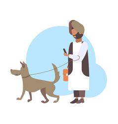 Arabic man walking with dog arab character vector