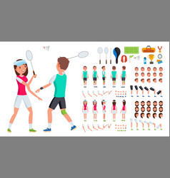 badminton player male female animated vector image