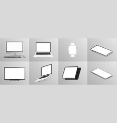 beautiful collection gadgets 3d mockups vector image