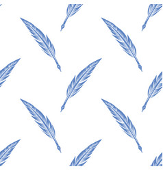 blue feathers seamless pattern vector image