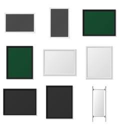 Boards and Frames realistic Mockup Set vector image