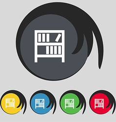 Bookshelf icon sign Symbol on five colored buttons vector