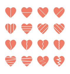 broken heart icons set vector image