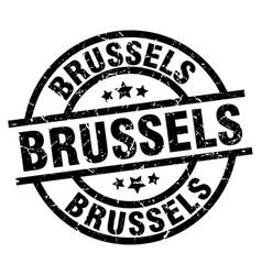 Brussels black round grunge stamp vector