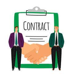businessmen and handshake contract signing vector image